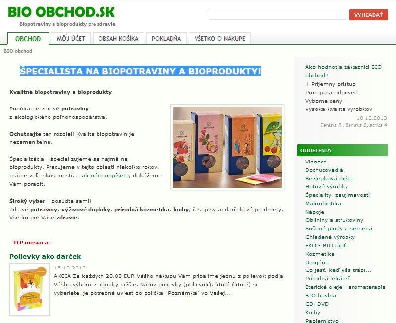 BIO-obchod.sk - špecialista na biopotraviny a bioprodukty!, foto: Bio-obchod.sk