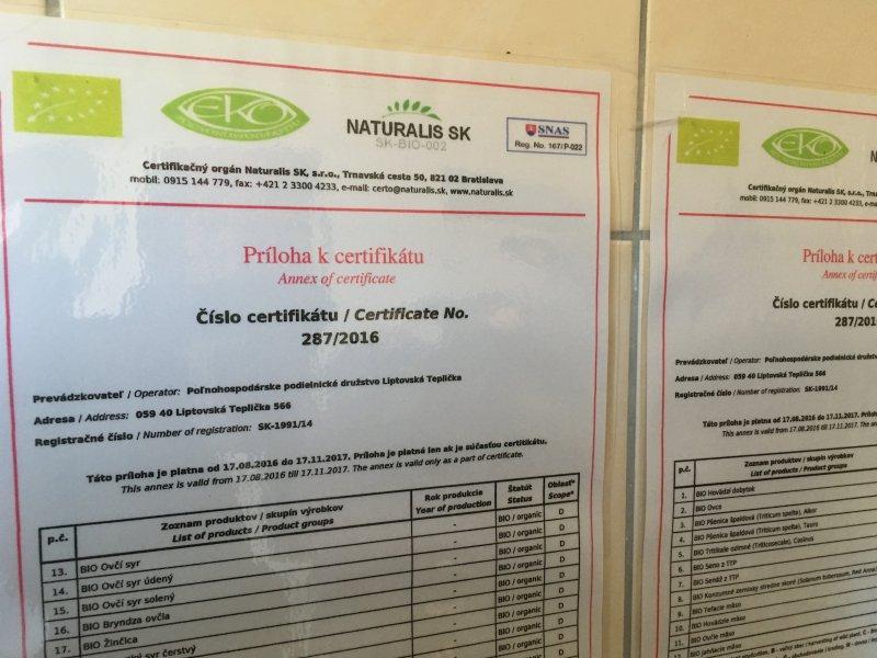 Bio certifikáty - predajnička v PPD Liptovská Teplička