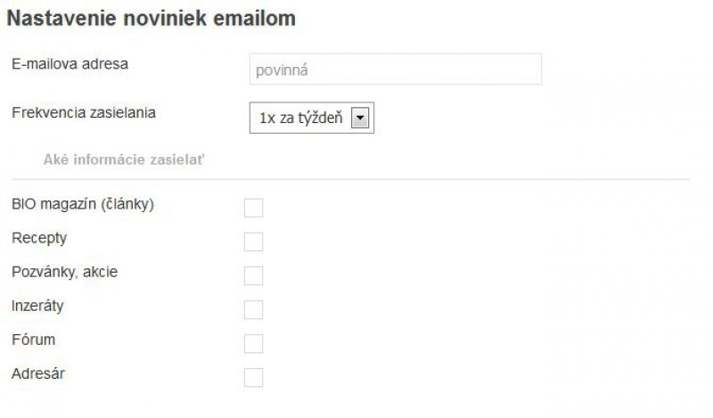 Novinky e-mailom, nastavenie