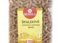 Cestoviny celozrnné špaldové špirály, Biomila,  foto: Biomila