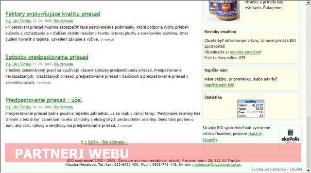 Umiestnenie bannera Partnera web stránky BIO spotrebiteľ.sk