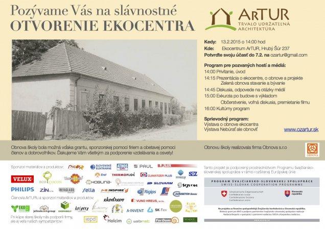 Slávnostné otvorenie ekocentra ArTUR